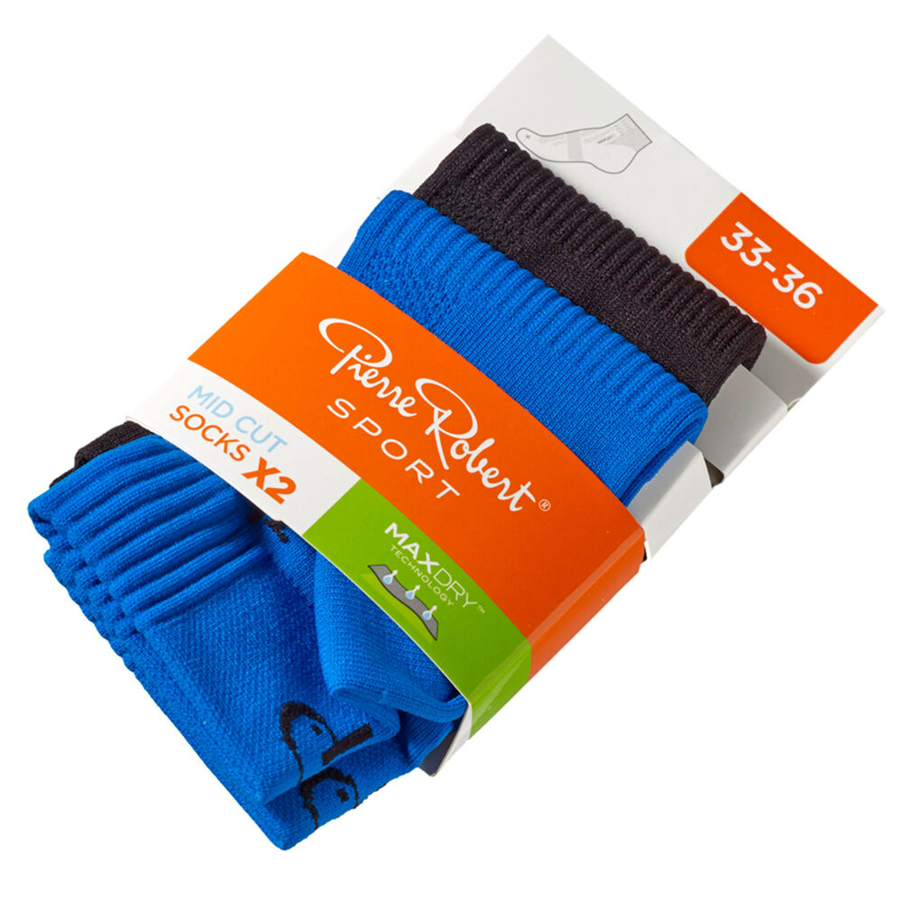 Lasten Urheilusukat 2-pack, blue and black, hi-res