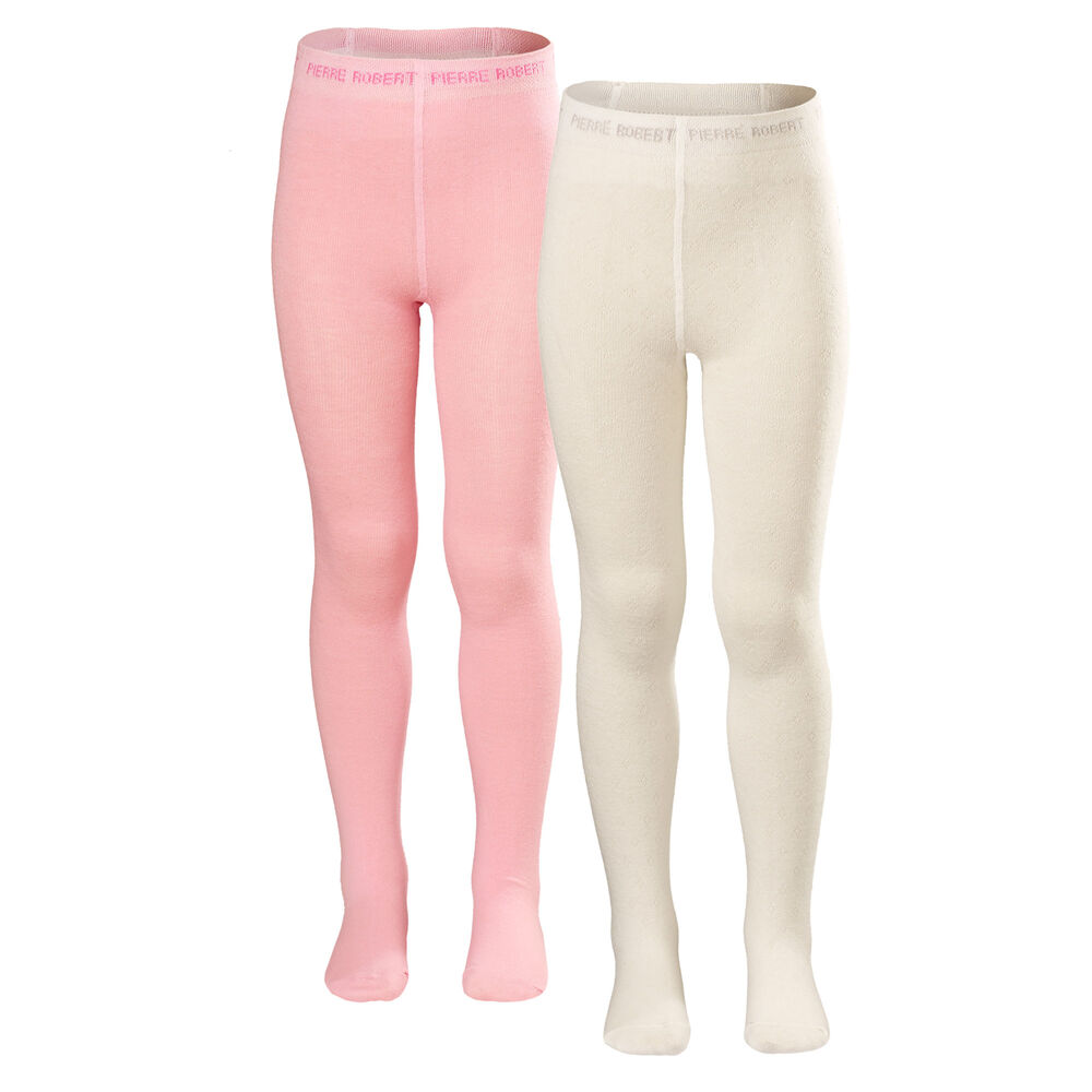 strømpebukser bomull barn 2 pak rosa hvit