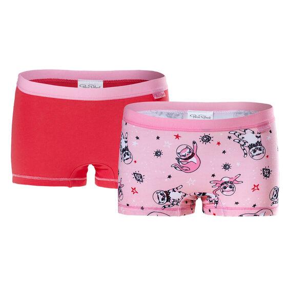 Luomupuuvillaiset tyttöjen bokserit (GOTS) Pink & Red 2-pack, pink pattern & red 2-17, hi-res